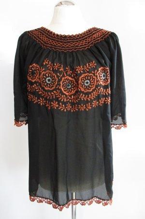 Vintage Folklore Bluse Tunika Größe M 38/40 Schwarz Cognac Braun Orange Stickerei Häkel Bordüre Chiffon Trachten