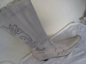 Vintage Fundstücke Coole Bronx Leder Stiefel Creme Alt weiß Top Zustand