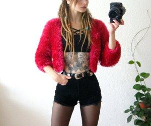 Vintage Fusselbolero pink, colorblocking Fransenjäckchen, 80er festival blogger