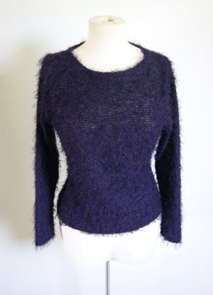 Vintage Fusselpullover lila, Fransensweater pflaume, 90s grunge