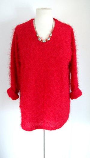 Vintage Fusselpullover oversized, knallroter Fusselsweater, 80er grunge