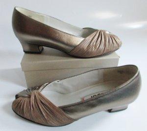 Vintage Gabor Leder Pumps Größe 37 Goldfarben Hellbraun 4,5 Schuhe Peeptoes Flapper Tanzschuhe 20er Knoten Twotone Sandaletten