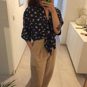 Vintage gemusterte Oversize Bluse aus Seide Pure Silk Shirt