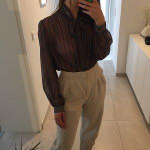 Vintage gestreifte transparente Bluse mit Schleife