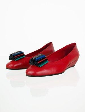 Vintage Glattleder Slipper in Rot 40