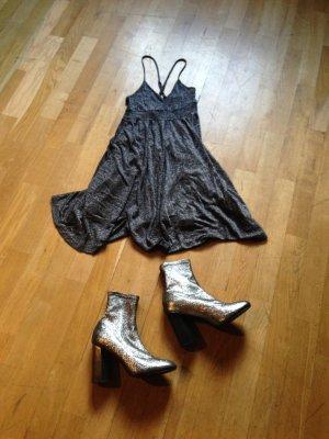 Vintage Glitzer Kleid Silber Babydoll Slip Dress Camisole Retro 70s Gr S M L