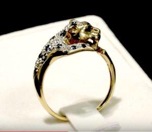 Vintage Goldring Panther Leopard Leo Ring Echtgold Gold Diamanten Saphire Jaguar Katze Gelbgold Diamant Saphir.
