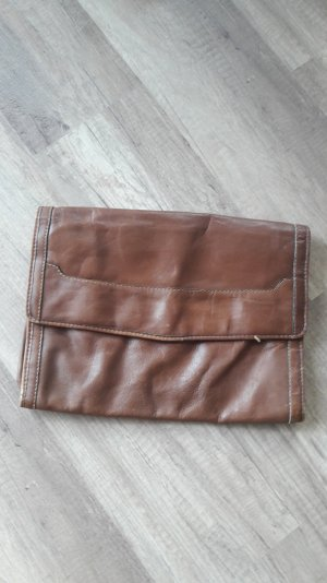 Vintage große Clutch Leder Tasche Bag Briefcase