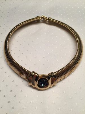 Collier Necklace gold-colored-steel blue metal