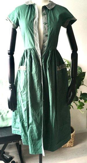 Vintage grünees Midikleid aus Baumwolle