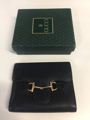 Gucci Wallet black-gold-colored leather