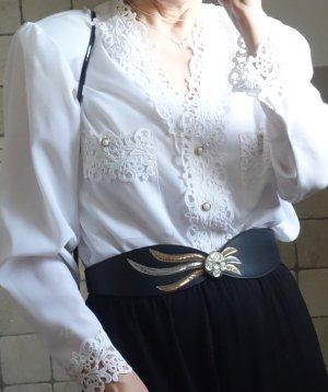 Vintage Gürtel 80iger Jahre, Retro, schwarz/gold/silber, mit Haken hinten zu schließen, runder Stein
