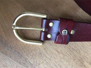 Vintage-Gürtel AIGNER dunkelrotes Leder - goldene Schnalle