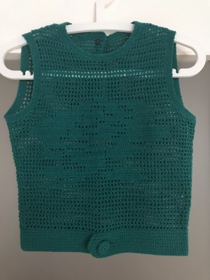Crochet Top petrol-cadet blue