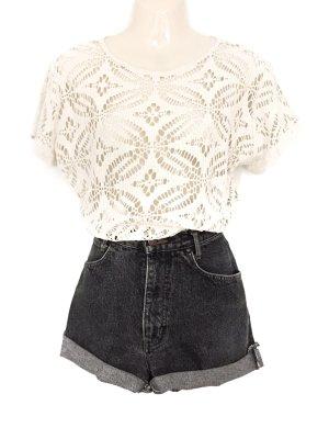 Vintage Häkel Shirt Oversize Gehäkelt Sommer Hippie Boho Style Made in Italy