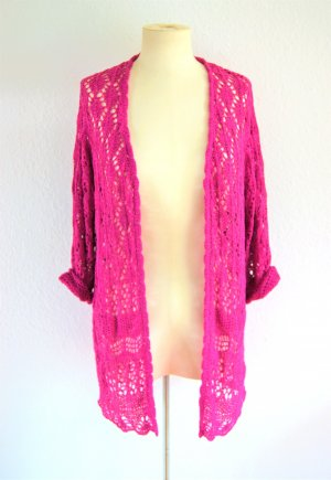 Vintage Cardigan all'uncinetto rosa-magenta