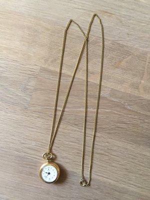 Vintage-Halskette Kette Uhr Blume Granny Chic