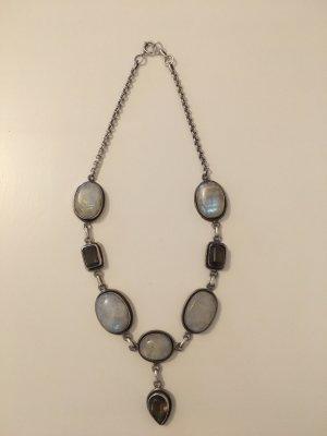 Vintage Halskette mit Mondstein und Rauchquarz