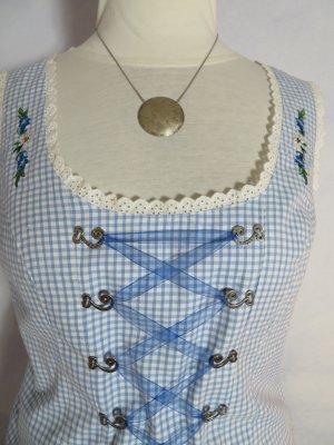 Vintage  HAMMERSCHMID Dirndl Korsage Bluse Hellblau Weiß Karo Kariert Oberteil  38 40 M L Trachten Oktoberfest