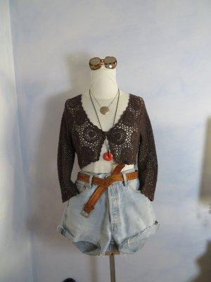 Vintage Cardigan all'uncinetto marrone scuro Cotone