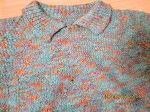 VINTAGE Handgestrickter Pullover grün/bunt-meliert RETROLOOK/HIPPI Gr. 40/42 neu