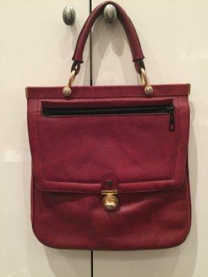 Vintage Handtasche aus dunkelrotem Leder und mit goldener Hardware