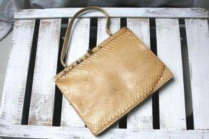 Vintage Handtasche, echt Schlangenleder, beige, Schlange!