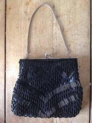 Vintage Handtasche Perlen schwarz