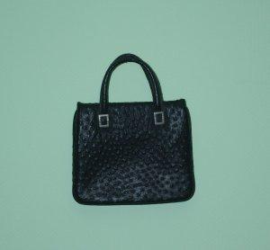 VINTAGE Handtasche Tasche Leder schwarz genarbt silber