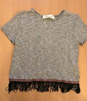 Vintage Havana Shirt Streifen Feinstrick Fransen Ikat Bordüre Aztek Hippie Ethno Boho Crop Cropshirt
