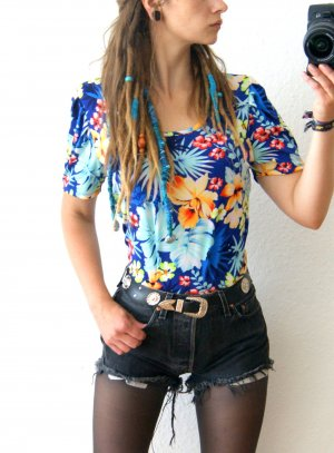 Vintage Hawaii Shirt bunt-floral, tropical T-Shirt 70er, Florida boho