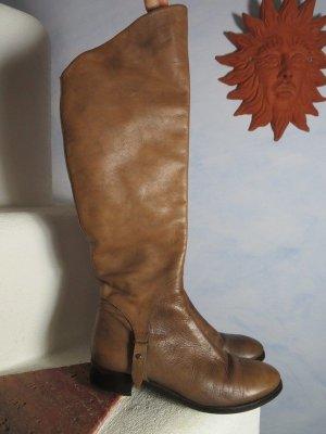 Vintage Hellbraun Slouchy Overknee Stiefel Lederstiefel Braun Gr. 39 Kniehoch Reiter Stiefel