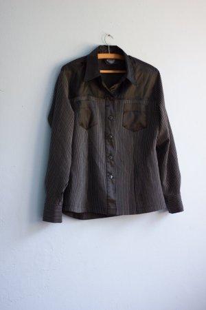 Vintage Hemd Bluse Schwarz gestreift 40/42