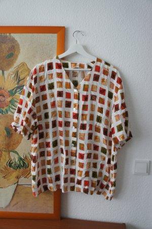 vintage hemd bluse shirt onesize S M L 36 38 40 42 blumen obst print