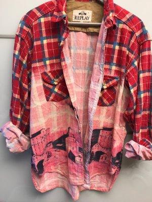 Replay Camicia a maniche lunghe multicolore Cotone