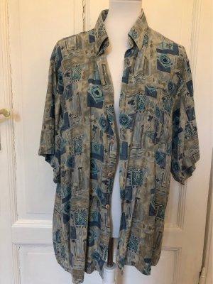 Camicia a maniche corte argento-azzurro