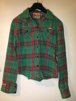 Superdry Long Sleeve Shirt forest green-brick red