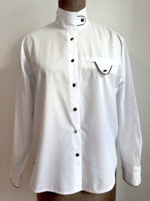 Vintage Hemdbluse mit Stehkragen, Gr. 40