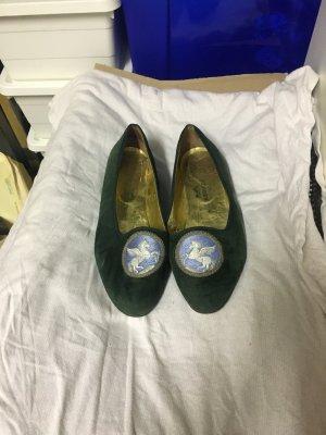 Vintage Hermes Schuhe Ballerinas Loafer Samtgrün