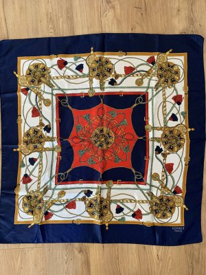 Hermès Foulard bleu foncé-rouge