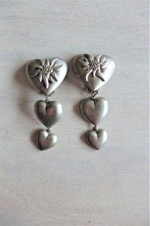 Vintage Herz Edelweiß Dirndlschmuck Ohrclips Ohrringe silber