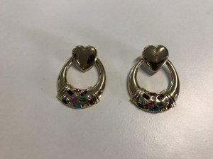 Vintage Herz-Ohrringe 80er mit Steinen 925er Silber