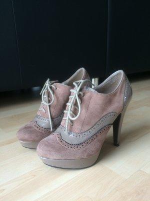 Vintage High Heels, Velours / Lack, beige, braun, Gr. 37, SDS