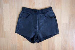 Vintage High Waist Echtledershorts, schwarze Lederhose, grunge