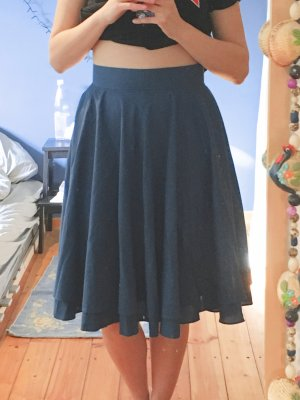 vintage high waist midi Rock 50s Rock'n'Roll Tellerrock blau