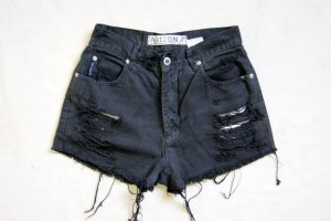 Vintage High Waist Shorts washed out black, grunge destroyed Shorts 80er