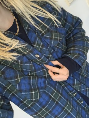 Vintage Holzfällerhemd gefüttert kariertes Hemd in Blau Grün und Schwarz Karo-Jacke in M