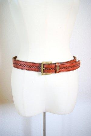Vintage Hüftgürtel hellbraun, italienischer Echtleder-Gürtel, blogger alternative