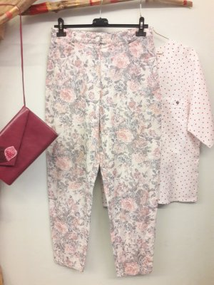 Pantalon taille haute blanc-rose