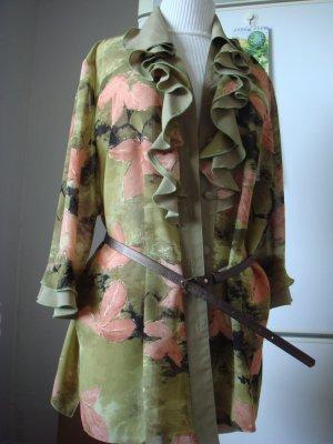Vintage - IZABEL  Rüschen Bluse Langarm oliv khaki braun gold braun schwarz Muster bunt L Gr. 42/44 - 90er Jahre